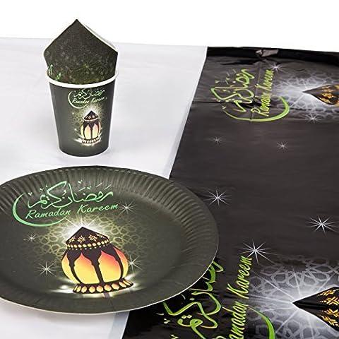 Ramadan Kareem Lanterne / Eid Vaisselle Set - 10x Plaques, 8 X Tasses, 20x Serviette & Nappe