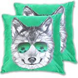 Wolf Head Sunglasses Green Pillow Covers 18x18 Inch, Decorative Square Throw Pillow Cushion Cover Case,2 Pack