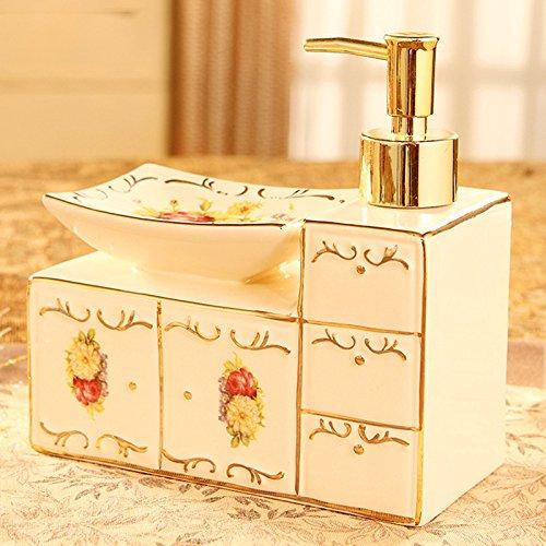 XCF WLQ Hand Sanitizer Bottle - Europäische Badezimmer - WC Badezimmer Zubehör - Keramik Soap Box - Soap Box - Kreative Hand Sanitizer Flasche,A,Handdesinfektio Keramik-soap