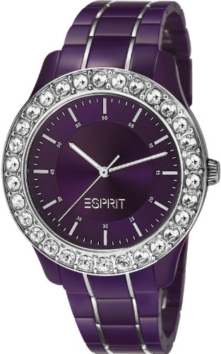 Esprit Women's Quartz Watch with Purple Dial Analogue Display and Purple Plastic Blushes