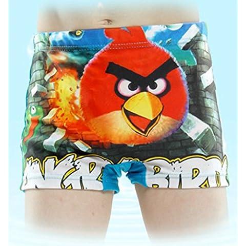 ChenStarUK Bañador para niños Bañador para niños superhéroe, para 6–12años Angry Birds L (5-7Years)