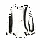 ZEZKT Damen Streifen V-Ausschnitt Langarm Lässigen Tops Basic Gestreift Crop Top Kurzarm Streifen Shirt (M, Weiß)