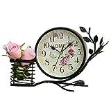 ZRJNYL Horloge de table de style pastoral européen Classique Non-Ticking Horloge de bureau silencieux Mode Fer Horloge décorative avec porte-stylo Pour Salon Chambre Bureau d'étude Café Bureau Noir Blanc (Horloge Diamètre du visage 15cm) Réveil ( Color : Blanc )