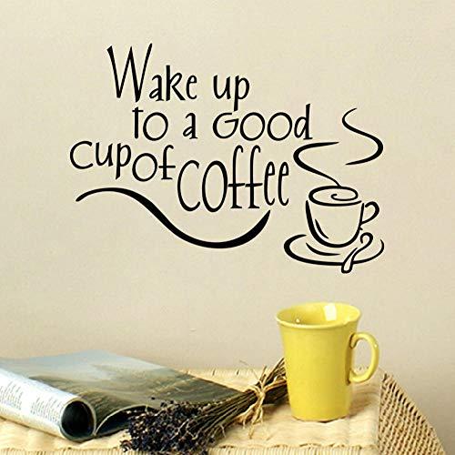Dwqlx Aufwachen Zu Einer Guten Tasse Kaffee Abnehmbare Diy Home Decor Vinyl Küche Wandaufkleber Wasserdicht 36 * 25
