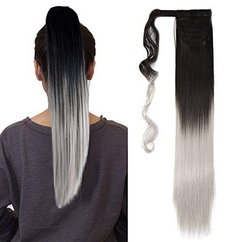 58cm extension coda capelli sintetici lunghi lisci clip ponytail extension ombre - castano scuro a grigio argento
