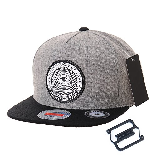�tze Mützen Caps Kappe Snapback Hat Illuminati Patch Hip Hop Baseball Cap AL2344 (Grey) ()