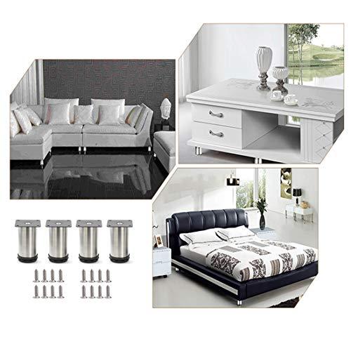 Altura ajustable Total: 80-95mm Metal cromado Qrity 4 unidades Patas de Metal muebles regulables armario de cocina pies redondo