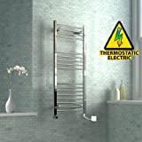 iBathUK 1200 x 500 mm Electric Curved Towel Rail Radiator Chrome Heated Ladder