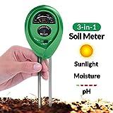 Boden-pH-Messer, 3-in-1 Bodentester-Set für Feuchtigkeit, Licht und pH, ein Muss für jeden Besitzer von Rasen, Pflanzen und Kräutern und Innen- und Außenböden – 100%-ige Genauigkeit (batteriefrei)