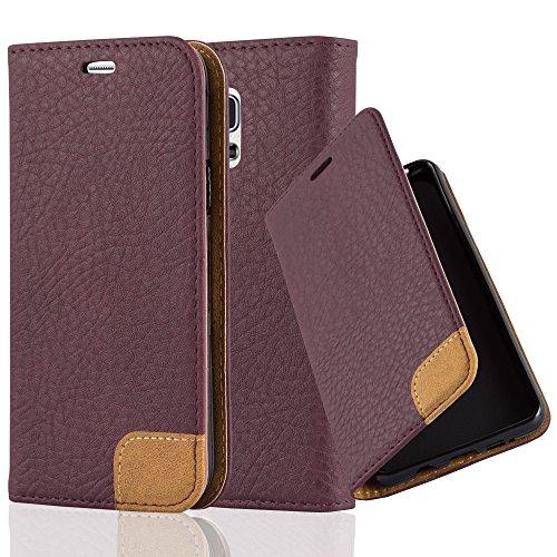 Preisvergleich Produktbild Cadorabo Hülle für Samsung Galaxy S5 Mini / S5 Mini DUOS - Hülle in HOLUNDER LILA – Handyhülle mit Standfunktion,  Kartenfach und Textil-Patch - Case Cover Schutzhülle Etui Tasche Book Klapp Style