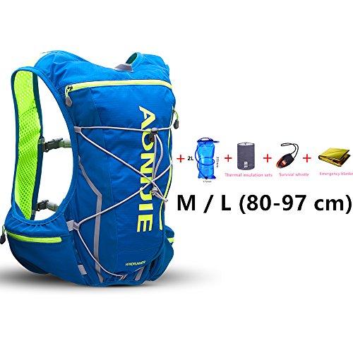 Imagen de aonijie 10l ligero resistente al agua  de esquí  de running marathon ciclismo bolsas running chaleco eléctrica bolsa de deporte + 2l hidratación bolsa de agua azul m/l
