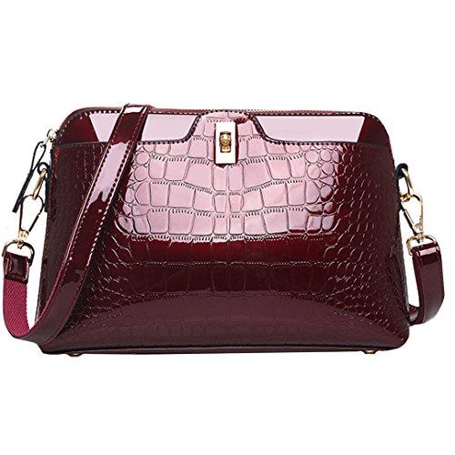 Faux-leder-satchel (Amily Farbe PU Patent Leder Alligator Handtasche Schultertasche Cross-Body-Tasche Tote Geldbörse OneSize Weinrot)