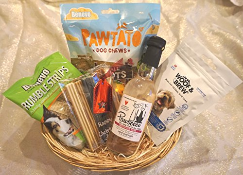 VEGAN VEGETARIAN VEGGIE CHRISTMAS DOG TREAT HAMPER HEALTHY GIFT WRAPPED TREATS WITH DOG TEA AND WINE