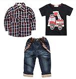 Arrowhunt Baby Boys Long Sleeve Plaid Shirt Car printing T-shirt Long Jeans 3pcs Clothes Set
