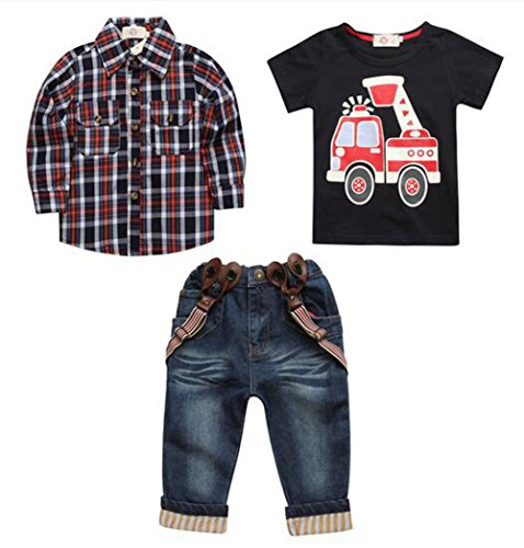Arrowhunt Baby Boys Long Sleeve Plaid Shirt Car printing T-shirt Long Jeans 3pcs Clothes Set