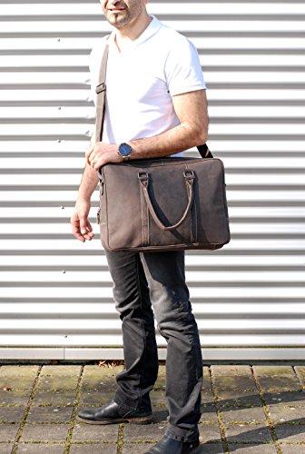 """SLINGBAG """"Lukas"""" XL Messenger Bag / Notebooktasche / Aktentasche aus hochwertigem Leder / FARBAUSWAHL (Braun) Dunkelbraun"""