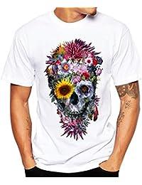 7135cdb9c Momola - Camiseta de Manga Corta para Hombre con Estampado de Calaveras