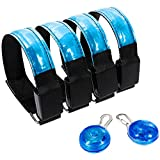 Zacro 4pcs LED Sport Armbands, Adjustable High Visibility Armband with 2 Clip on Dog Collar Safety Night Lights, LED Bracelet for Running, Cycling, Dog Walking, Mountaineering, Camping and other Outdoor Sport (28-35cm)