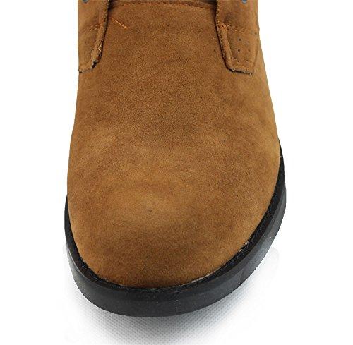 Imitation daim à Dessert homme en cuir Chukka Bottines High Top Chaussures à lacets Marron - Brun