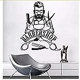 Art Déco Moderne Bricolage 57X70Cm Autocollant Mural Barber Shop Inscrivez-vous Sticker Mural Amovible Hipster Vinyle Autocollants Beauté Barbershop Décor