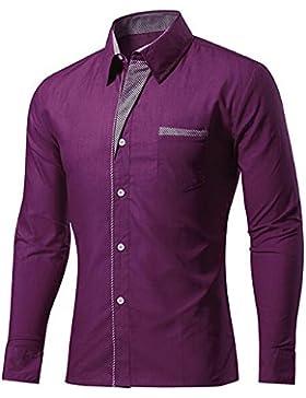BOZEVON Personalidad de los hombres Casual Slim camisa de manga larga Chaqueta Blusa Top S-4XL