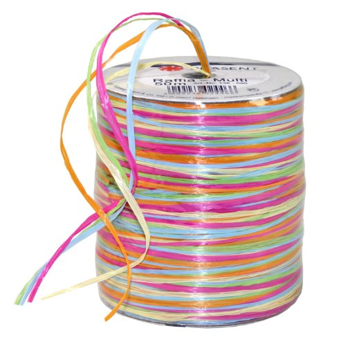 Prasent 50 m Rayon Raffia Spool Ribbon, Pink/ Yellow/ Multi-Colour