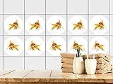 GRAZDesign 770442_57x57_FT Fliesenaufkleber Bad | Fliesensticker mit Goldfisch | einfach auf die Fliese kleben | rundes Aufkleber-Set für Bad 25 Stück (57x57cm)