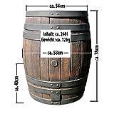 Regentonne Eichenfass 240l in Holz-Optik mit Deckel - 3
