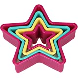 Metaltex Star Shape Nesting Cookie Cutters in Assorted Sizes and Colours, Set of 4, Multi-Colour