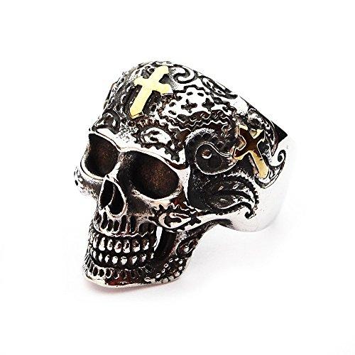 Aus Skull Ringe Edelstahl Kreuz (Miss–E–Jewels TM Golden Kreuz Herren Ring Big Skull Edelstahl Gothic Biker Punk Goth mexikanischen GB Claw Heavy Größe Y 122868)