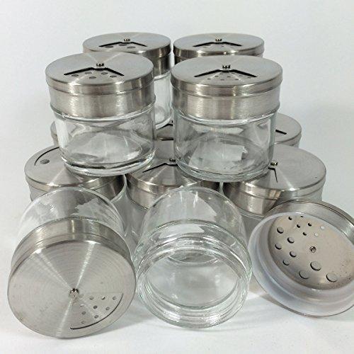 12pezzi portaspezie in vetro con chiusura in acciaio inox