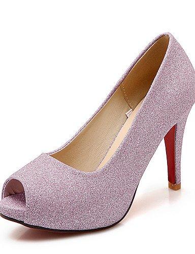 WSS 2016 Chaussures Femme-Mariage / Habillé / Soirée & Evénement-Violet / Argent / Or-Talon Aiguille-Bout Ouvert-Talons-Similicuir silver-us7.5 / eu38 / uk5.5 / cn38