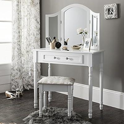 Sienna   Dressing Table, Mirror & Stool Set  Premium Quality   Shabby Chic - inexpensive UK light shop.