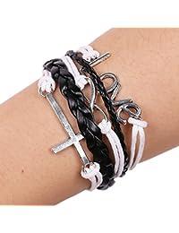 Bracelet En Cuir De Bracelet De Cercle Pour Unisexe Bracelets En Cuir Véritable Bracelets Multi De Brins Corde Tressée Tribale AMOUR Symbole D'infini Croix