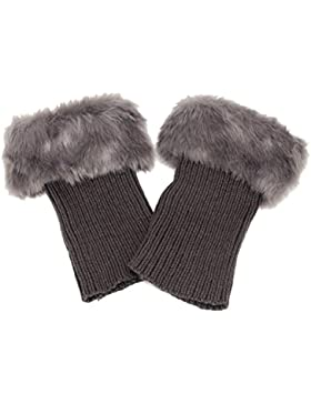 Butterme Faux Fur Leg accessori calze stivali invernali donne Scaldamuscoli Knit Stivali Calze Topper Cuff (Grigio...