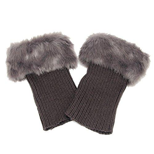 Butterme Faux Fur Leg accessori calze stivali invernali donne Scaldamuscoli Knit Stivali Calze Topper Cuff (Grigio scuro)