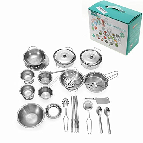 32Pcs Stainless Mini Kitchen Dish Pan Pot Kitchenware Play Set