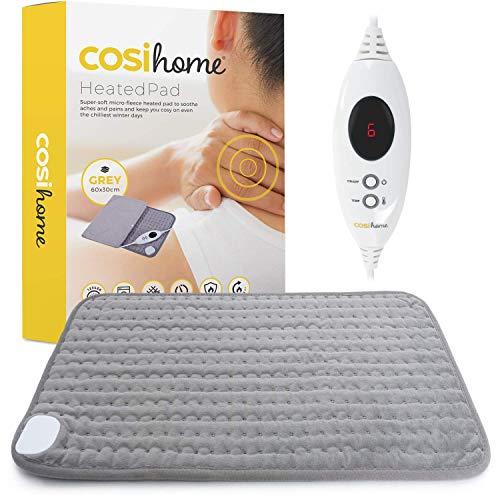 Cosi Home Heizkissen 60 x 30 cm - Maschinenwaschbares elektrisches Premium Wärmekissen mit Abschaltautomatik, schneller Heiztechnologie und Mikrofleece Bezug - für Muskel und Rückenschmerzen - Grau