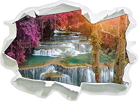 Schöner Wasserfall im Regenwald, Papier 3D-Wandsticker Format: 62x45 cm Wanddekoration 3D-Wandaufkleber Wandtattoo