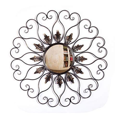 Dipamkar Decorativo Specchio da Parete, Vintage Convesso Specchio da Parete, Metallo Wall Art con Strutturato Golden Leaves 80x 80cm