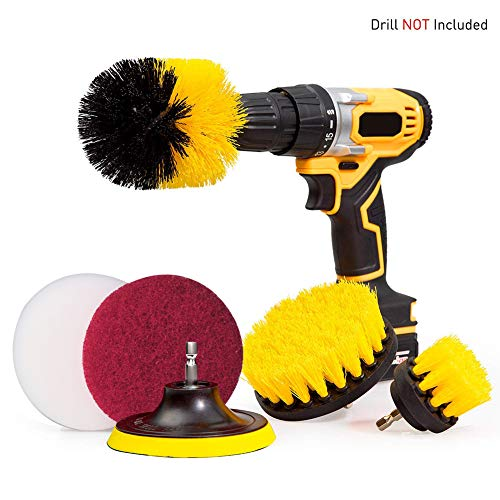 Bohrbürste Befestigungspflege, Power Scrubber Drill Brush Kit, Time Saving Cleaning Kit-Great for Cleaning Pool Tile, Flooring, Brick, Keramik, Marmor, und Grout, 6 Stück - Brick Roten Teppich
