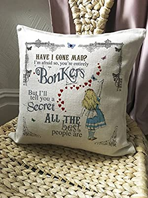 Alice in Wonderland Mad Hatter Tea Party Cushion Cover Bonkers Hearts - inexpensive UK light store.