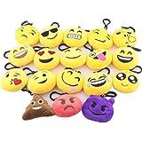 flintronic Mini Emoji Emoción Llavero Peluche, Set de 18pcs