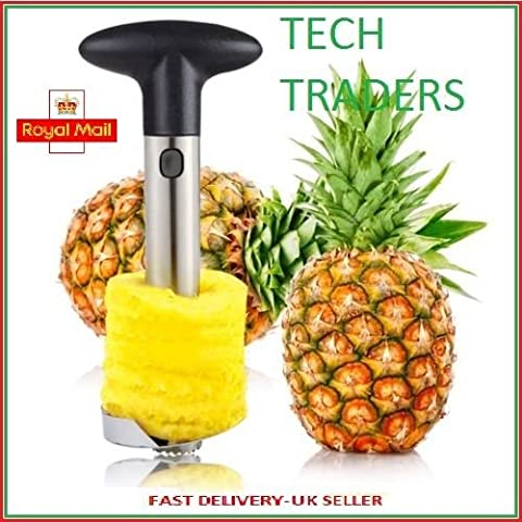 Tech Traders® NEUF en acier inoxydable Fruits Ananas trancheuse Vide-pomme Cutter Éplucheur Kitchen-life temps Garantie