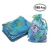 WINOMO Lot de 100 Sacs en Organza avec Cravates, Sac à Bijoux, Sac à Bonbons et Petit Cadeau pour Mariage, fête 12 x 9 cm (Bleu Coral)