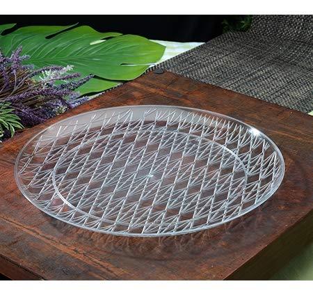 Lot de 3 plateaux ronds élégants en plastique Aspect cristal, plateaux décoratifs en plastique 35,5 cm