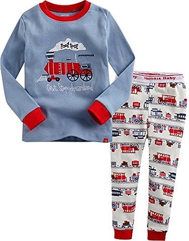 Vaenait Baby Saugling Kinder 74-122 lange Armel Schlafanzuge Set Toot Toot Train L