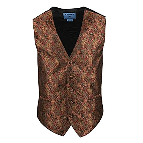EGC2B01D-S Red Gold Paisley Microfiber Black-Back Dress Tuxedo Waistcoats Vest Presents For Designer Waistcoat For Wedding By Epoint