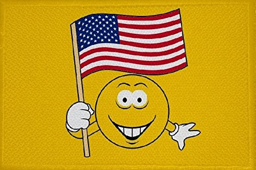 U24 Aufnäher Smily Motiv Nr. 55 USA Fahne Flagge Aufbügler Patch 9 x 6 cm -