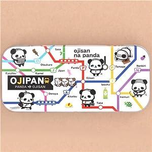 Linda caja de lata estuche lápices metálico oso panda Ojipan lunares de Japón